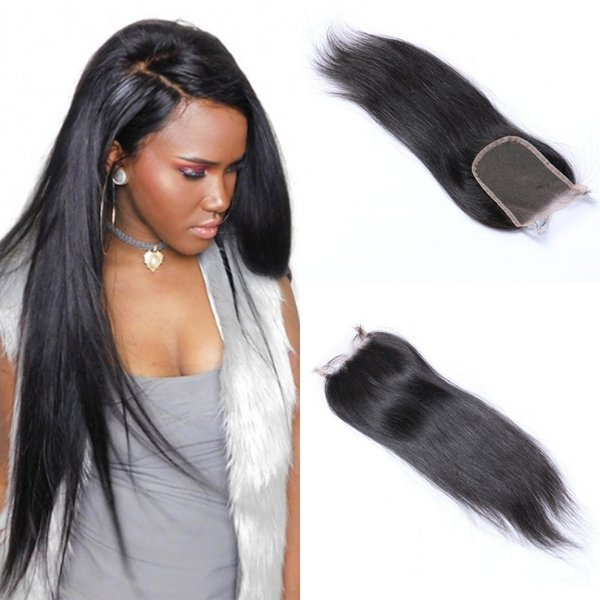 Brazilian Natural Straight Closure 4x4 Human Hair Lace Closure Middle 3 Free Part Remy Hair Closure FDshine