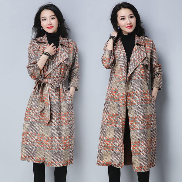 De Compre Trench Abrigo De Nueva Mujer Otoño Impresión Gamuza Coat 1qExUw1O