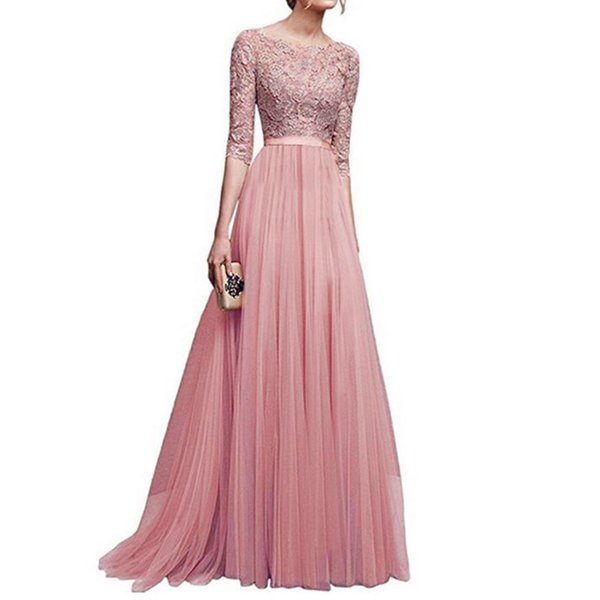 WOMAIL Ladies Elegant Dress Full Sleeve Evening Party Dresses Vestido Maxi Prom Gown Lace Patchwork Long Dress 4Colors18Aug7