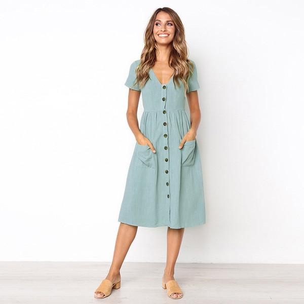 7d3512f3f6c Short Sleeve Button Pockets Summer Midi Shirt Dress Women 2018 Sexy V-Neck  Casual A-Line Linen Lady Party Dresses Beach Sundress