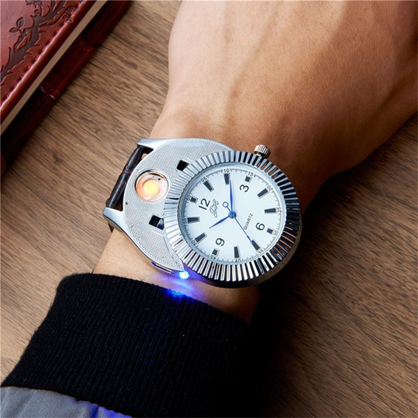 Creative 2in1 Rechargeable USB Windproof Flameless Cigarette Lighter Watch Men Electronic Charging Lighters Clock Gifts PJ