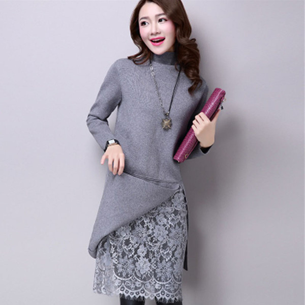 Autumn Winter Sweaters New Arrival Women's Turtleneck Warm Sweater Lace Patchwork Fake Two Piece Set Pullovers Female Knitwear