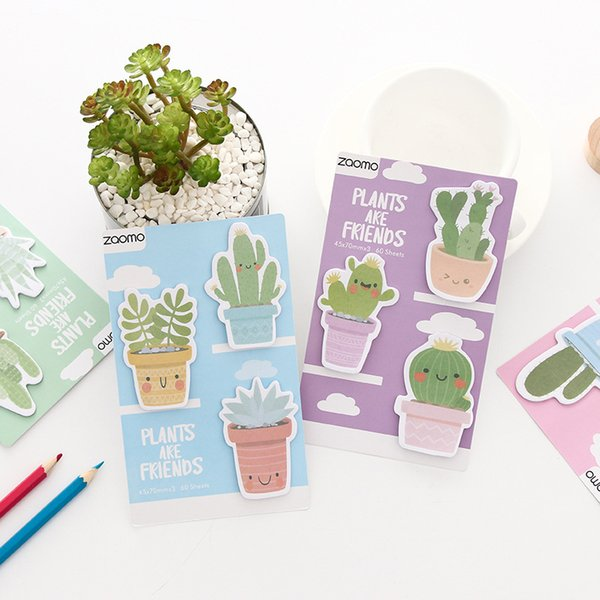 best selling Creative small fresh cactus sticky notes Message notes N times paste classification paste book