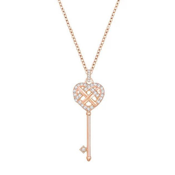 Original Charm Rose Gold Heart-Shaped Key Pendant Necklace Women Elegant Luxury Retro Clavicle Chain Factory Direct