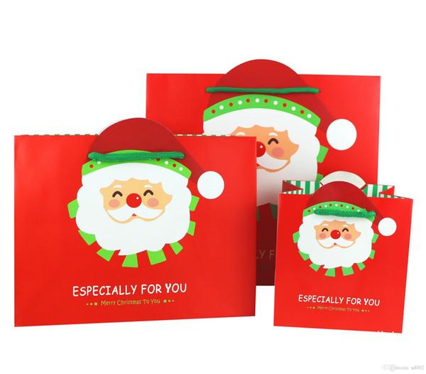 Noel Tema Hediye Paketleme Çanta Dayanıklı Kullanımlık Kare Noel Baba Desen Kılıfı Wth Kaldırma Halat Kırmızı Çanta Kırmızı Renk 1 5hj3 ZZ