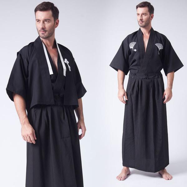 white black men kimono Japan ninja samurai costume clothing Japanese Mens Warrior Kimono Yukata Haori Robe cosplay costumes