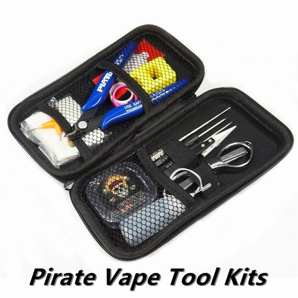Newest Pirate Vape Tool Kit Vaporizer DIY 15 Tools Bag Tweezers Pliers Wire Heaters Cotton Scissors Coils For RDA RTA DHL Free