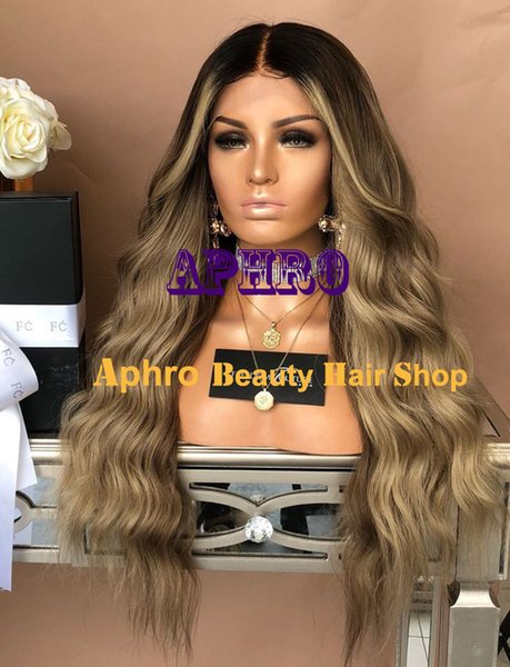 Black Roots Ombre Brown Blonde Full Lace Silk Base Wigs With Highlights 150%Density Brazilian Human Hair 5x5 Inch Silk Top Brown Blonde Wigs