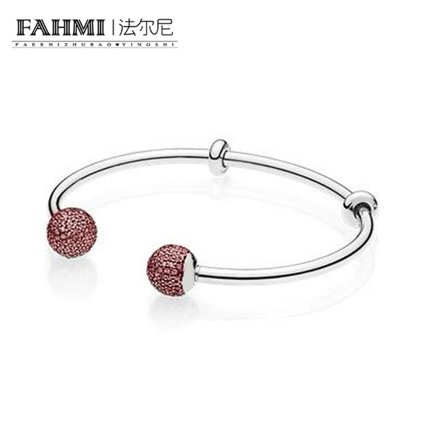 FAMI 100% 925 Sterling Silver 1:1 Original 596438CZS MOMENTS SILVER OPEN BANGLE WITH PAVE CAPS Red Vintage Women's Gemstone