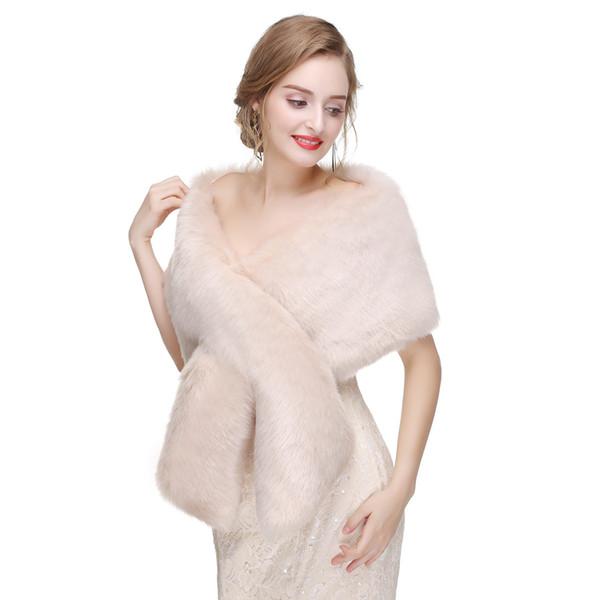 2018 Winter Bolero Wedding Accessories Faux Fur Bridal Boleros Brown, Dark Red Bridal Wraps Free Shipping
