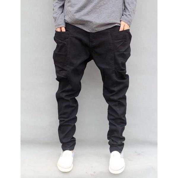 Осень зима большой размер S-6XL новая мода повседневная черные джинсы мужские бегуны свободные джинсовые брюки карманы брюки хип-хоп гарем
