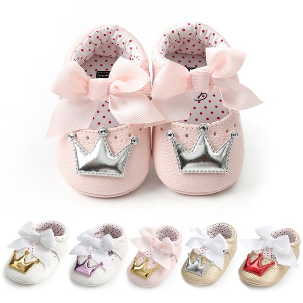 2018 PU Baby Shoes Newborn Bow Baby Girl Shoes Fashion Crown Princess First Walker Girl