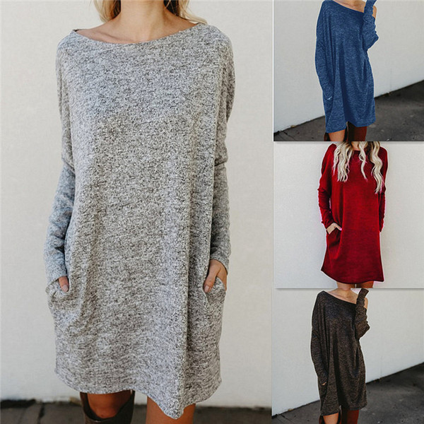 2018 Spring Autumn Sexy Women Mini Dress Long Sleeve Loose Dress Plus Size Women Clothing Pocket Knitted Sweater Dress Vestidos DYDCD-17342