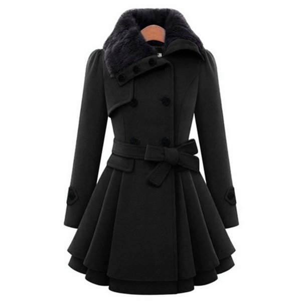 Pelzkragen Zweireiher Wintermantel Frauen Wollmäntel warme weibliche Mantel Gürtel Damen langen Mantel Wolle Sobretudo NQ832163