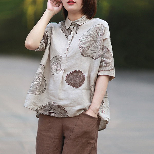 Frauen Baumwolle Leinen Shirts A-Line Blusen Umlegekragen Casual 2018 Sommer Neue Kurzarm Pullover Print Shirts