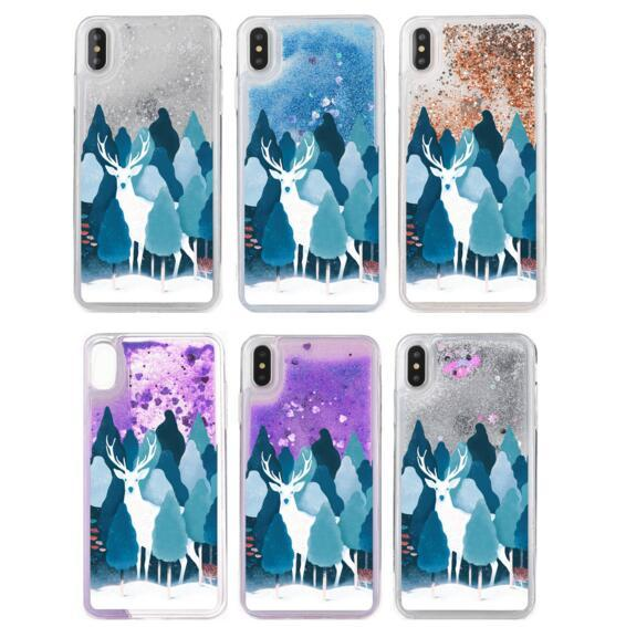 For iphone X XS MAX XR 8 7 6 6s plus Case Christmas Tree Fluorescent Liquid Glitter Bling Quicksand Deer Phone Case Dynamic Cover Gifts