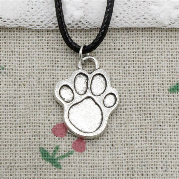 Creative Fashion Antique Silver Pendant dog paw 22*17mm Necklace Choker Charm Black Leather Cord Handmade Jewlery