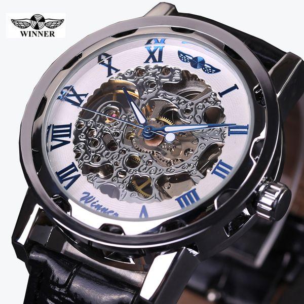 2016 GANADOR hueco mecánico mano-viento hombres mujeres relojes clásico talla esqueleto esfera dorada correa de cuero genuino reloj de pulsera
