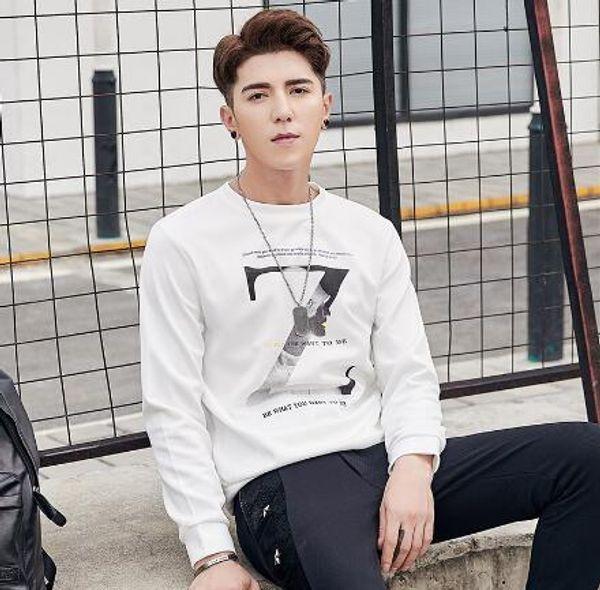 Мужская футболка с длинными рукавами, мужская осенняя одежда, круглый вырез, свитер, осенняя мода, мужская одежда.