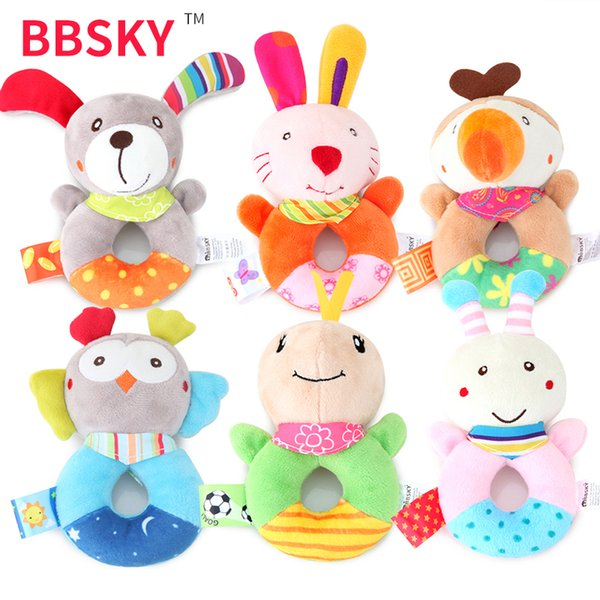 Baby Plush Toy Rattle Toy Cute Puppy Owl Bee Rabbit Cartoon Animal Hand Ring Environmentally Friendly High-elastic PP Cotton Education Toys