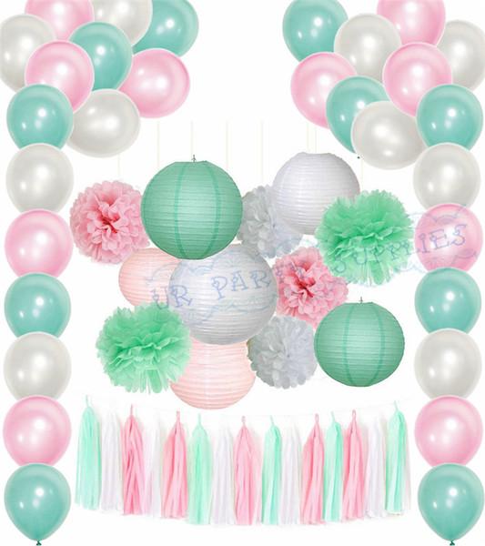 1 set pink mint party package paper lantern balloon tassel baby girl baby boy shower bridal shower birthday baptis decorations