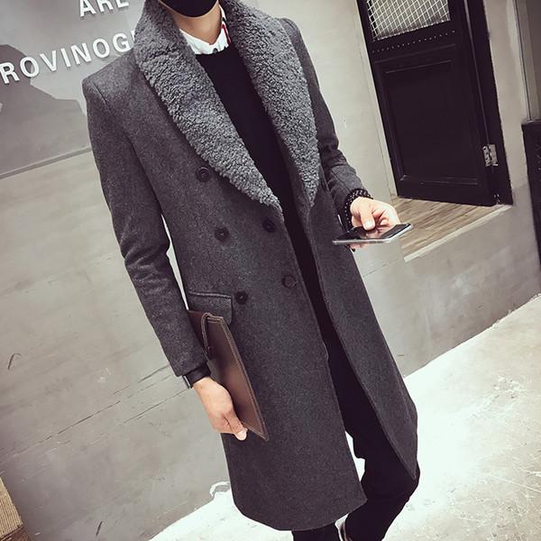 2017 Zweireiher Lange Mäntel Herren Pelzkragen Lange Trenchcoats Herren Mantel Slim Fit Woolen Winter Jacken Vintage Mantel