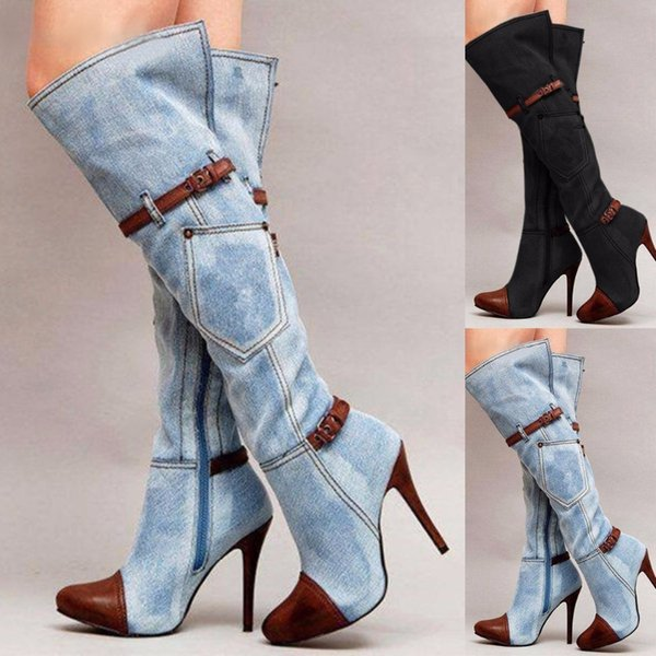 여자 슬리퍼 허벅지 높은 부츠 스트레칭 무릎 하이힐 신발 섹시 패션 버클 벨트 스틸 레토 힐 부츠 겨울 부츠 DA220