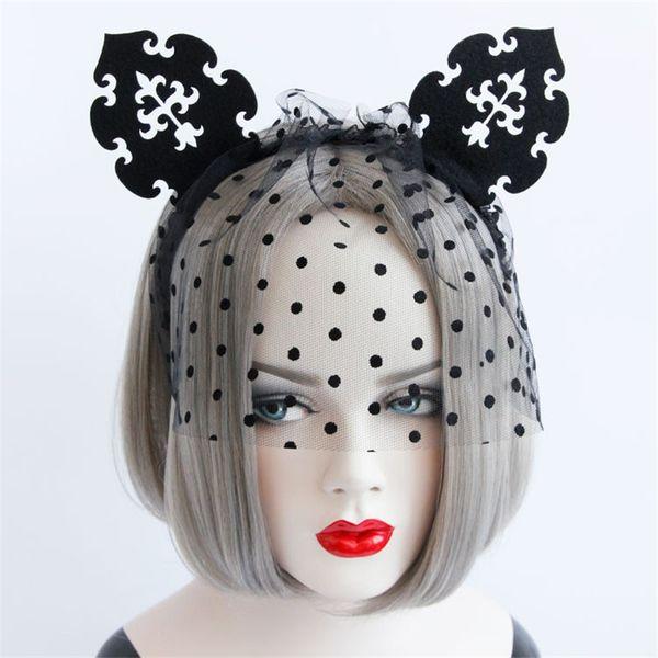 Sexy Women Cat Ears Crown Black Felt Dot Veil Mask Headband Hair Band Hoop Costume Party Fancy Dress Ball Hallowmas Accessory