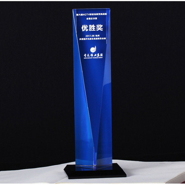Creative blue award business souvenir crystal trophy award