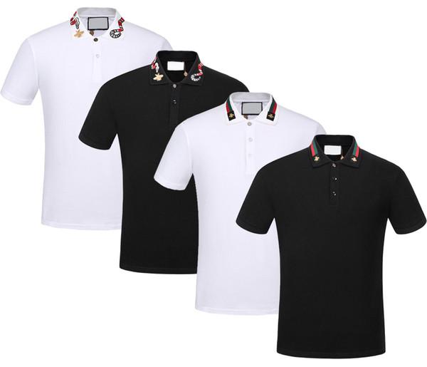 Nova marca Primavera Verão outono homens casuais camisa polo t camisas dos homens polo tshirts cobra abelha bordado High street mens polos t-shirt