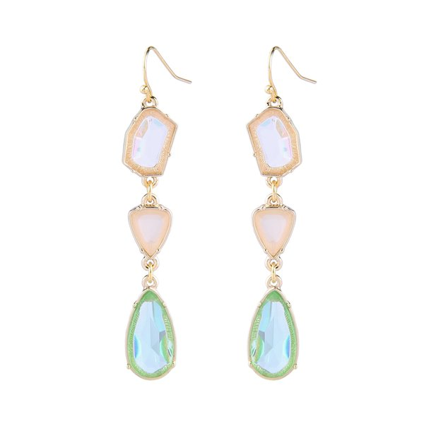 Summer Style Crystal Drop Earrings 18K Gold Plated Multi Color Gemstone Accessories Fashion Charms Jewelry For Women Gifts 2018 New