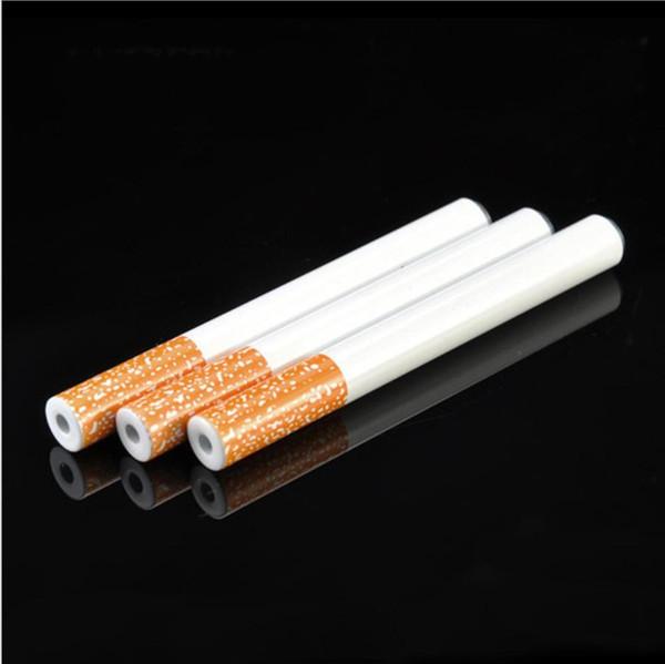Ceramic Cigarette Hitter Pipe Yellow Filter Color100pcs/box Cigar Shape Tobacco Pipe One Hitter Bat Metal Smoking Hookah