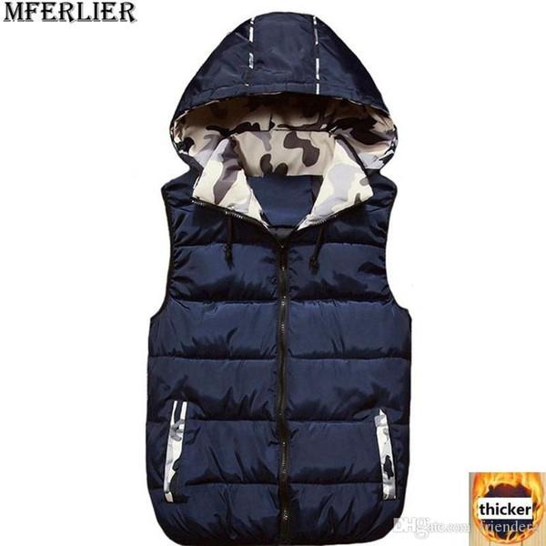 62a29ca22 MFERLIER Inverno bolso Das Mulheres dos homens Casal Colete Colete com  capuz de espessura 4XL Camuflagem