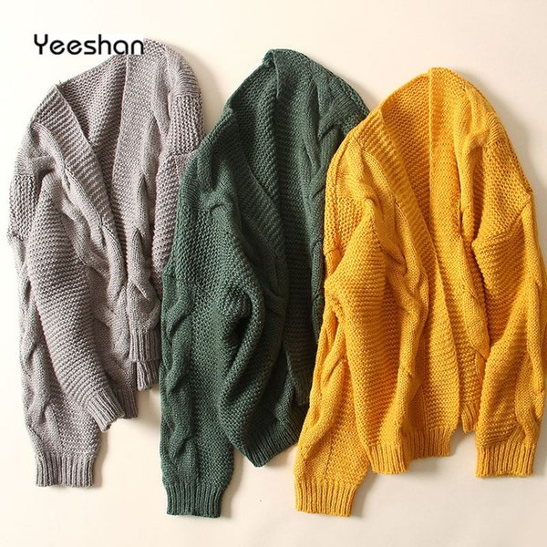 new styles f69bb b0627 Großhandel Yeeshan Crochet Jumper Damen Twisted Cardigan Damen Long Sleeves  Gelb Grün Grau Damen Pullover Strickpullover Strickjacke Von Zanzibar, ...