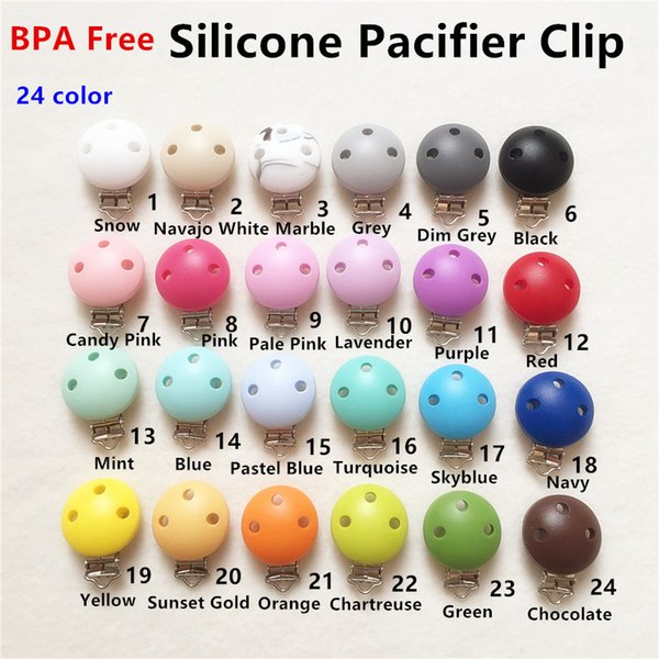 Chenkai 10PCS BPA Free DIY Silicone Round Baby Pacifier Dummy Teether Clips Soother Nursing Toy Accessory Holder Clips