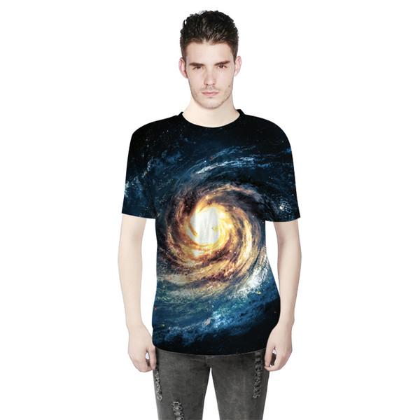 2018 Summer Fashion Men Wear Whirlpool Star 3D Digital Print T-shirt Short Sleeved Men Sports Bottoming Shirts A0304
