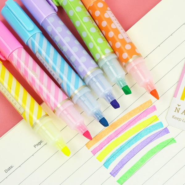 6 pcs/lot Cute Mini Highlighter Pen 6 Colors Set Kawaii Permanent Markers Japanese Stationery For Kids Graffiti School Students