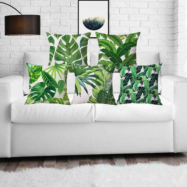 Verano planta verde impresa decoración para el hogar tirar almohadas fundas de almohada de lino asiento cashion cover para sofá suave moda hojas verdes