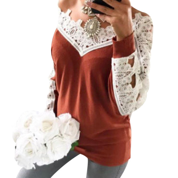 Women Lace Patchwork T-Shirt Sexy Deep V Neck Long Sleeve Loose Tops T Shirt Casual Spring Autumn Ladies Solid Slim Tshirt Blusa