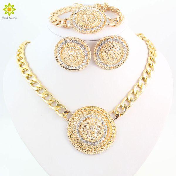 Fashion Vintage Lion Head Necklace Bracelets Earrings For Women Gold Color Rhinestone Jewelry Sets Wholesale