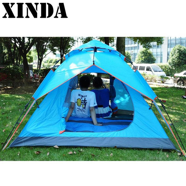8f853678d08 3-4 Person Windproof Camping Tent Waterproof Oxford Cloth Dual Layers  Outdoor Sport Beach Travel