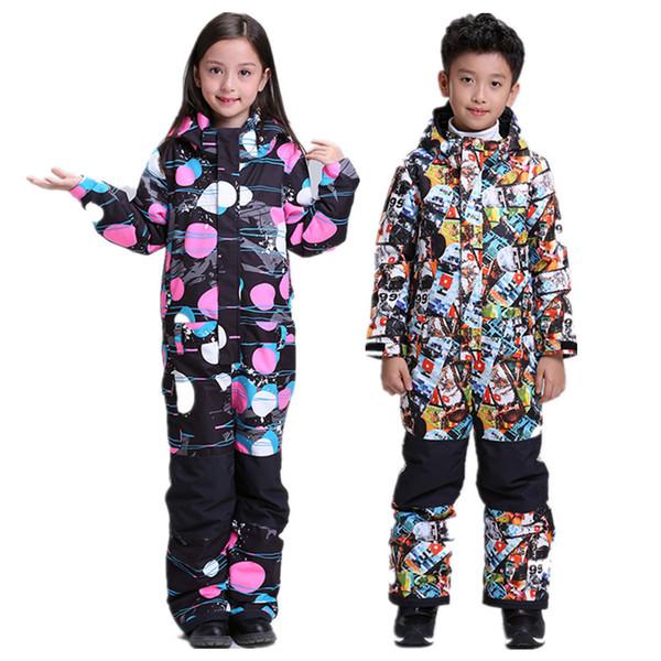 Gsou Jungen Einteiler Skianzug Kinder Schnee Skianzug für Mädchen Kinder Jungen Jacke Overall Body Kleidung