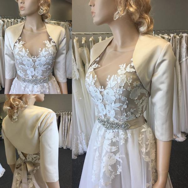 White Bridal Wraps Satin Autumn Winter Warm Half Sleeve For Wedding Evening Prom Partys Jackets Coats Bolero Ivory Shawl Shrugs