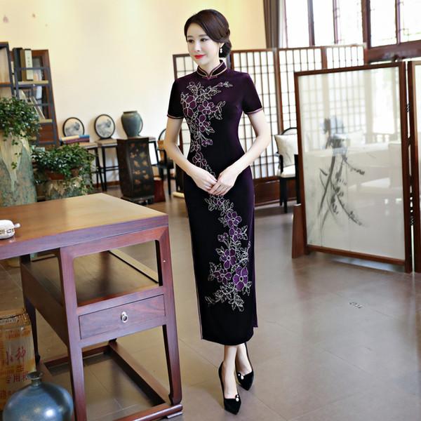 2019 new elegant high quality plus size short sleeve velvet embroidery purple/wine red/blue long cheongsam daily qipao party dress wedding