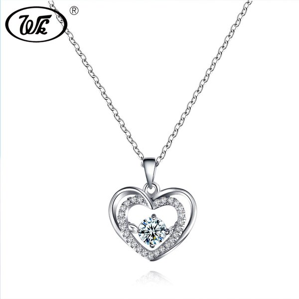 0ef96d46e6a WK Beautiful Love Heart Pendant Silver Necklace For Women Ladies Elegant  Charm Jewelry Gift 18 Inch