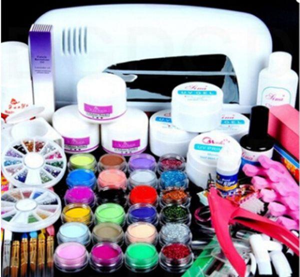 Professionelle Maniküre Set Acryl Nail Art Salon Supplies Kit Werkzeug mit UV-Lampe UV Gel Nagellack DIY Make-up vollen Satz