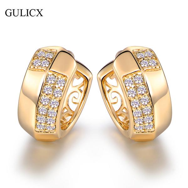 GULICX Luxus Pave Hooped Ohrringe Gold-Farbe CZ Huggie großen Hoop Ohrring für Frauen Hochzeit Dekorationen E116