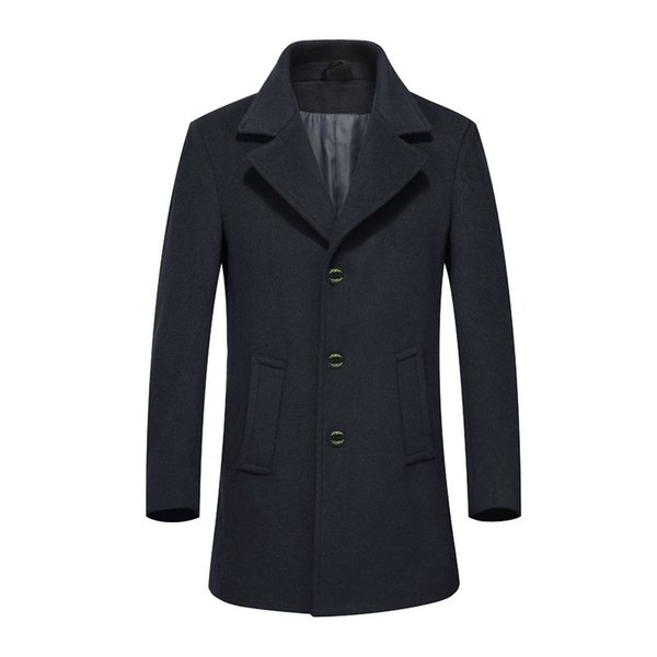 2018 Men Autumn Winter Trench Coat Overcoats Jacket Men's Casual Fashion Slim Fit Large Size Peacoat Hombre Outwear XD567