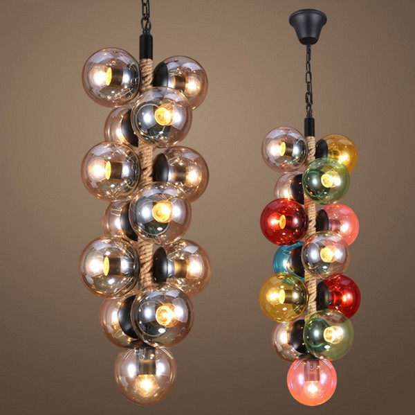 Nordic Glass Chandeliers Color Glass Ball Pendant Lights Magic Beans for Bar Restaurant Coffee House Deco E27