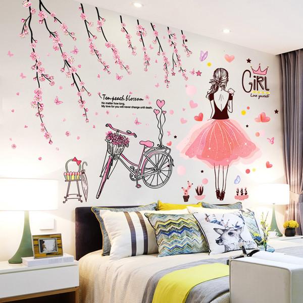 SHIJUEHEZI] flor del melocotón Calcomanías hermosas niña de dibujos animados para niños de pared para cuarto de cristal decoración flores pegatinas [SHIJUEHEZI] herm ...